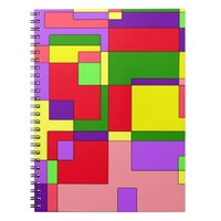 Retro Colorful Abstract Spiral Note Books