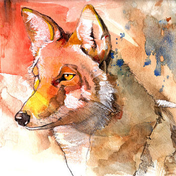 Coyote, canvas print, 16x20, animal painting, watercolor painting, wall art, desert, home decor, painting, watercolor print, orange, fox
