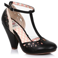 Black Perforated Leatherette Elsie Vintage T-Strap Pumps