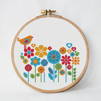 Floral cross stitch pattern, Bird cross stitch pattern, Cute cross stitch, Summer cross stitch, Easy Cross Stitch, Instant Download PDF