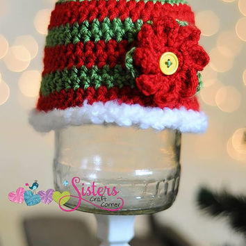 Red Green Striped Poinsettia Beanie - Baby, Toddler, Child, Holiday Hat, Winter, Christmas Hat, Red Green Stripe, Photo Prop, Newborn Photos