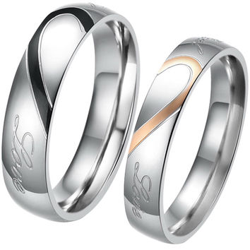 "Lovers Matching Heart 316L Stainless Steel Wedding Rings For Men Women Promise Rings ""Real Love"" , custom engrave"