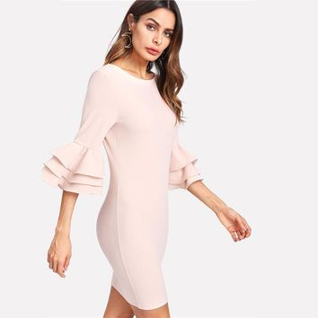 Fashion Dress Women Round Neck 3/4 Sleeve Bodycon Dress  Elegant Short Dress