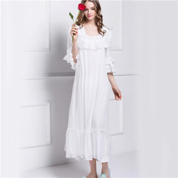 2017 Sleep Lounge Long Satin Nightgown With Lace Home Dress White Vintage Princess Nightgowns Embroidery Cotton Nightdress #P118