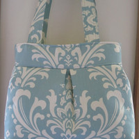 Shoulder Pleated Handbag Purse Ipad Netbook Tote Damask in Robin blue and off white Made in USA