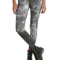 Grey And Black Galaxy Leggings