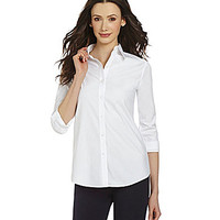 Investments Petite Gold Label Roll-Tab Tunic - White