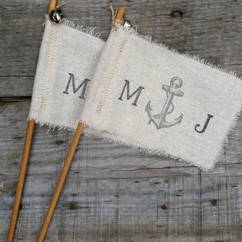 Personalized Fabric Wedding Wands, Rustic Wedding Decor, Wedding Ceremony Flags, Wedding Send Off, Wedding Favors, Set of 10