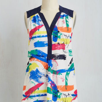 80s Long Sleeveless Girl About Easton Tunic in Brushstrokes