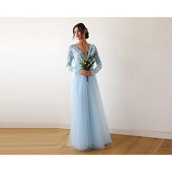 Light Blue Tulle and Lace Long Sleeve Wedding Maxi Dress 1125