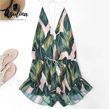 AZULINA Backless Deep V Neck Sexy Halter Romper Jumpsuit Women Drawstring Leaf Print Summer Playsuit Ladies Beach Overalls 2017