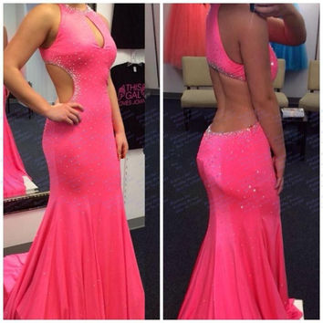 2016 Custom Made Pink Prom Dresses Keyhole Neck Cut Out Backless Vestido De Noche Formal Party Gowns robe de soiree longue