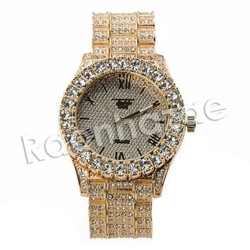 HIP HOP ICED OUT RAONHAZAE TYGA LUXURY GOLD FINISHED LAB DIAMOND WATCH