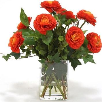 Waterlook (r) Dark Orange Ranunculus W/ Ivy and Basil In Square Glass Vase
