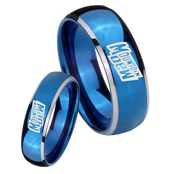His Her Glossy Blue Dome Mountain Dew Two Tone Tungsten Wedding Rings Set