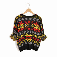 Vintage Nordic Snowflake Sweater in Black Red Yellow - small