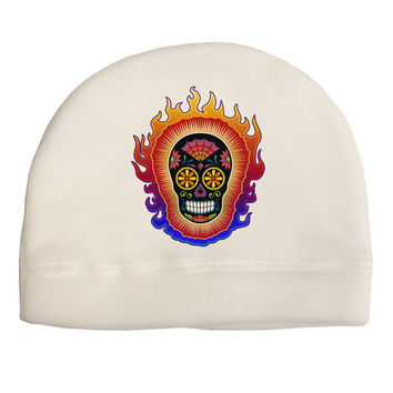 Sacred Calavera Day of the Dead Sugar Skull Child Fleece Beanie Cap Hat