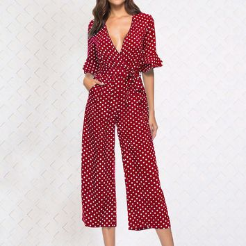 Isabella Dot Jumpsuit - Red