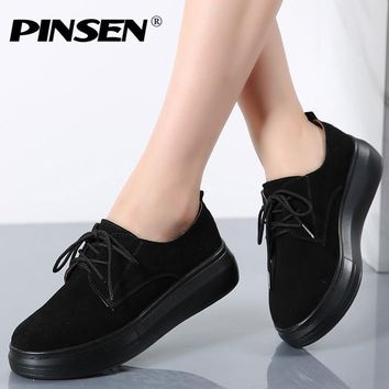 PINSEN 2017 Autumn Women Casual Shoes Ladies Lace up Thick Soled Moccasins Suede Leather Platform Flats Oxfords Shoes For Women