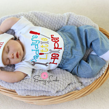 Baby Boy Clothes Daddy's Little Helper with Tools Newborn Baby Boy Outfit up to 5T with pants and personalized baby boy hat Options