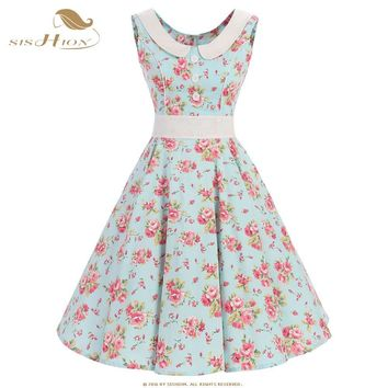 SISHION 2018 Summer Leopard Floral Dress Plus Size Retro Vintage Rockabilly Dress 50s 60s Mint Green Cotton Party Dresses VD0532