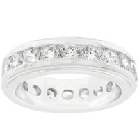 New England Eternity Ring In Silvertone, size : 07