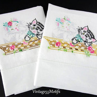 Pillowcases Kittens in a Basket Embroidery