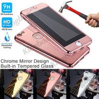 "360-degree Full Body Protector Mirror Hard Case + Tempered Glass For iphone6 4.7"" Luxury Armor Slim Cases For iPhone 6 6S Plus"
