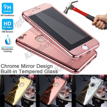 """360-degree Full Body Protector Mirror Hard Case + Tempered Glass For iphone6 4.7"""" Luxury Armor Slim Cases For iPhone 6 6S Plus"""