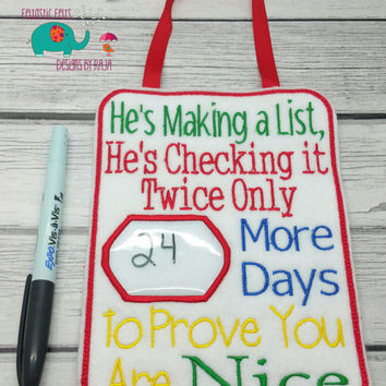 Dry erase advent calendar, door hanger, embroidered sign, banner, embroidery, holiday, Christmas, decoration, countdown, Santa Clause