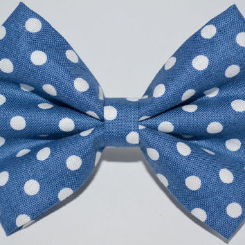 Small Navy Polka Dot Hair Bow