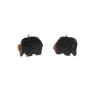 Elephant Stud Earrings, Tiny Dainty Cute Black Glitter Animal Earrings, Kawaii Jewelry, Quirky