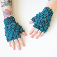 Teal Fingerless Crochet Wrist Warmer Gloves, Wristlets, ready to ship.