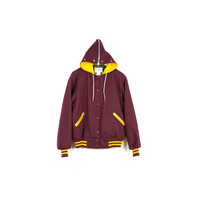 wool hoodie varsity jacket / vintage / letterman coat / burgundy maroon gold / leather / convertible hood / basic / plain / athletic / retro
