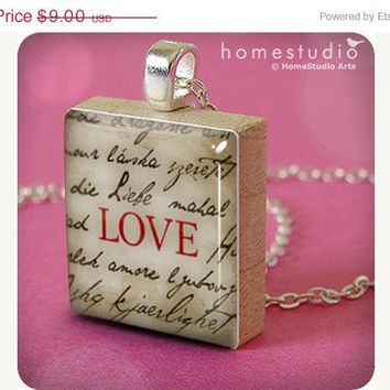 Memorial Day Sale Words of Love jewelry pendant by HomeStudio