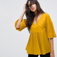 River Island Bell Sleeve Pleated Top at asos.com