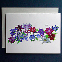 Cascade of clematis single card with envelope, reproduction of original print, 100% PC recycled paper, violet magenta lavender, card119