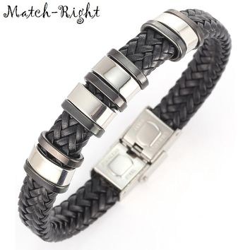 Match-Right Men's Leather Bracelets Metal Bracelet Cuff for Men Stainless Steel Bracelets Bangles Men's Wristband BR007