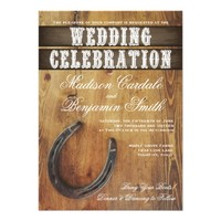Country Western Horseshoe Rustic Wedding Invites