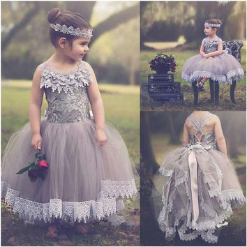 Lace Ball Gown Flower Girl Dresses Holy Communion Dresses Girls Pageant Dresses Kids Evening Prom Gowns Custom Made