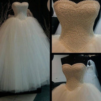 9069 2017 White Ivory Lace Strapless Wedding dresses Corset Bodice Sheer Bridal Ball Pearl Beads Tulle Wedding Gowns size 2-28W