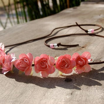 Pretty Pink Rose Flower Headband/Halo/Crown - Boho Hippie Wedding Festival Rave Accessory