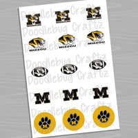 "University of Missouri Tigers - Printable Bottlecap Images - Instant Download 1"" circles - 15 images - Mizzou"