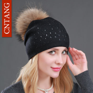 Winter Wool Women Beanies Rivets Decoration Pompon Fur Hats Fashion Natural Raccoon Fur Caps Female Warm Cashmere Knitted Hat