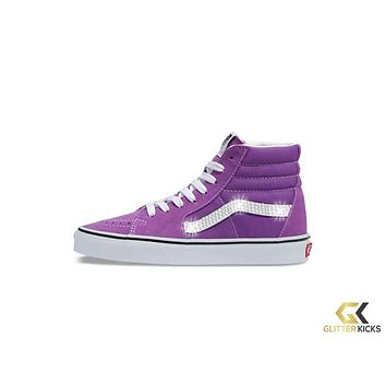 Womens Vans SK8-HI + Crystals - Dewberry/True White