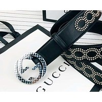 GUCCI 2019 new diamond belt with men and women double G buckle belt