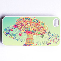 "Iphone Case. Swings. Carnival. ""Spin"". Dreamy. Pastel. Colorful. Fun. Cute. Blue. Mint. Orange. Pink. yellow. Iphone 4 case. 4s case"