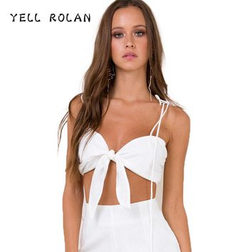 YELL ROLAN 2018 Women Fashion Sexy Lace Up Crop Top Spring Summer Beach Party Backless Camisole Tie Bow Camis Female Tank Tops