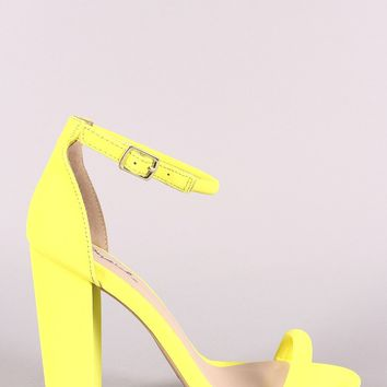 Single Band Vamp Ankle Strap Chunky Heel
