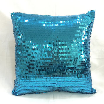 Luxury Sparkling Aqua Blue Sequins Pillow Cover. 16inch Bling Dazzling Decorative Cushion Cover Christmas Gift. Wedding Decor